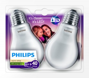 Pack de 2 bombillas E27 LED Philips 6W