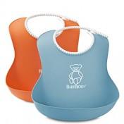 Pack de 2 baberos BabyBjörn naranja y azul