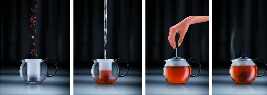 Tetera de pistón preparación del té