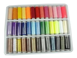 Conjunto de 39 bobinas de hilo de coser de poliéster