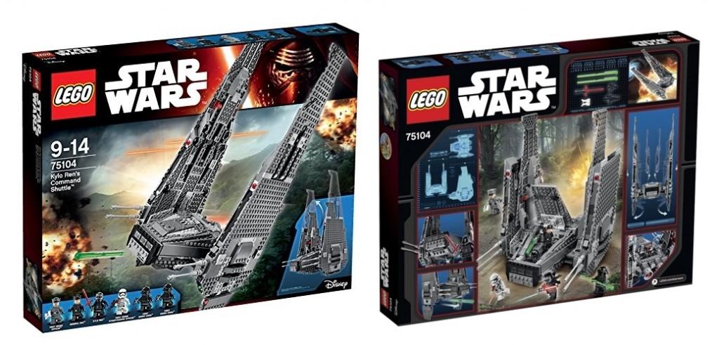 Caja Nave de combate de Kylo Ren LEGO Star War 75104 por delante y por detrás