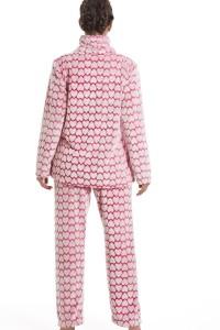 Pijama polar estampado corazones Camille rosa