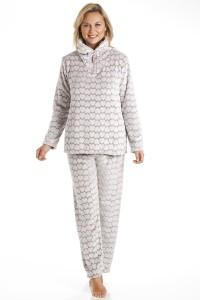 Pijama polar estampado corazones Camille marron