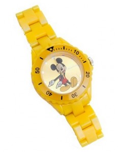 Reloj de pulsera infantil Mickey Mouse amarillo