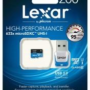 Tarjeta de memoria MicroSD Lexar con lector de tarjeta USB 3.0 200gb