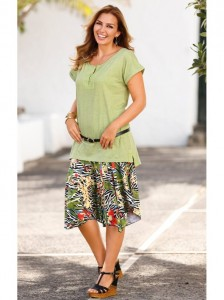Falda mujer asimétrica estampada