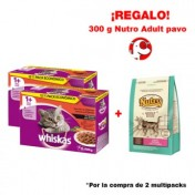 lote-2-packs-whiskas-multipack-varios-sabores-regalo-nutro-adult-feline-pavo-300g