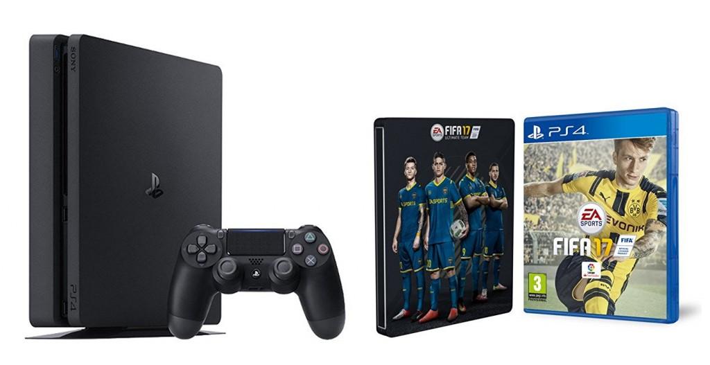 PS4 Slim 1 TB + FIFA 17 + Steelbook