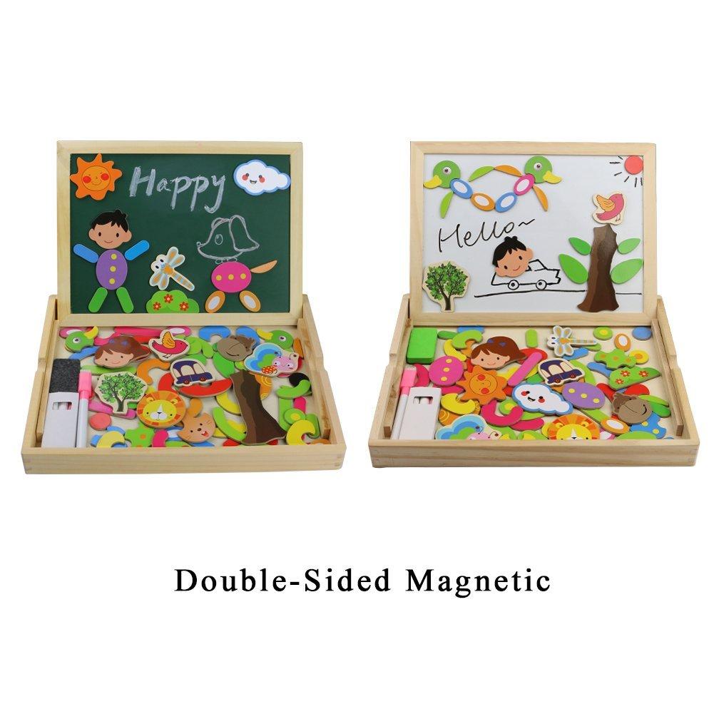 Caja de madera con pizarra magnética reversible Fajiabao