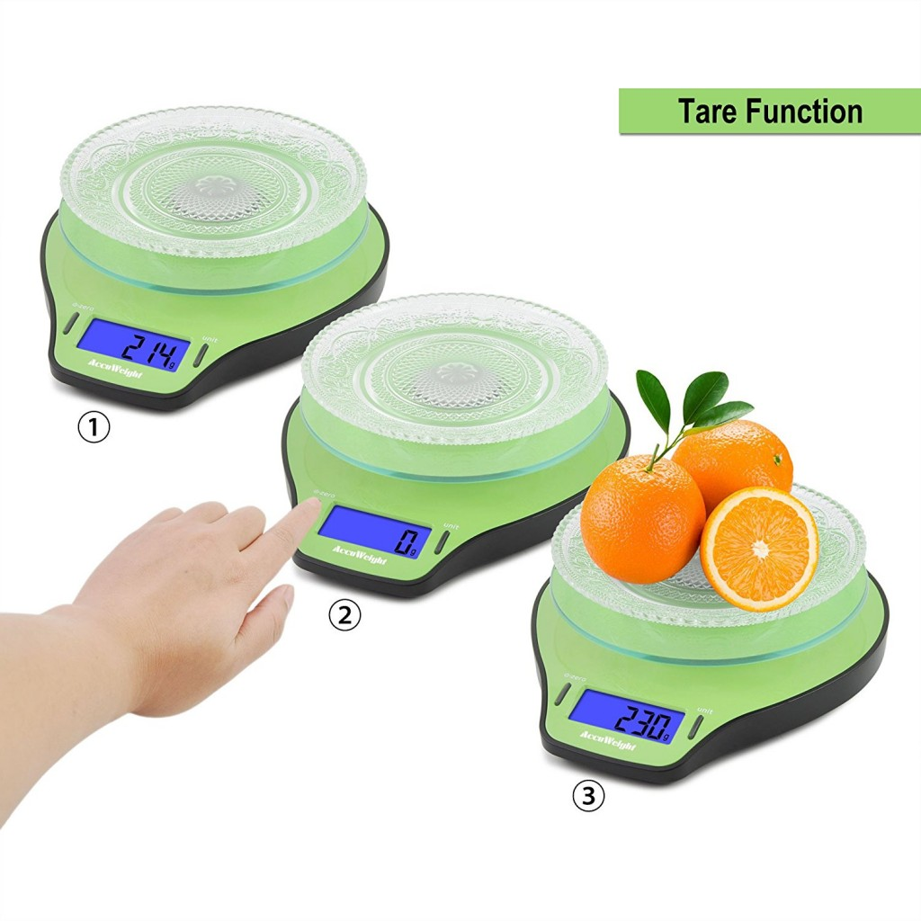 B scula de cocina digital accuweight color verde peso for Bascula cocina amazon