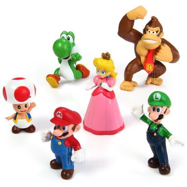 6pcs Mini Super Mario Bros 4 - 7cm Action Figures Doll Toy