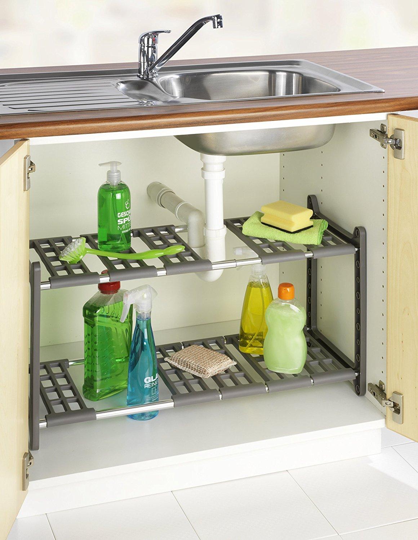 Estanter a para armario de fregadero wenko regulable - Estanterias para armarios ...