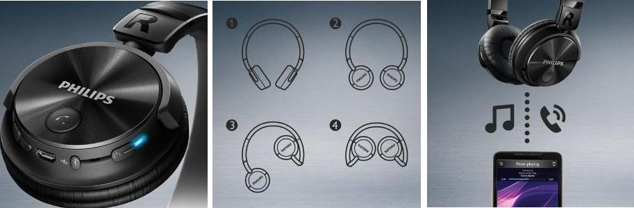 Auriculares inalámbricos plegables Philips SHB3060BK
