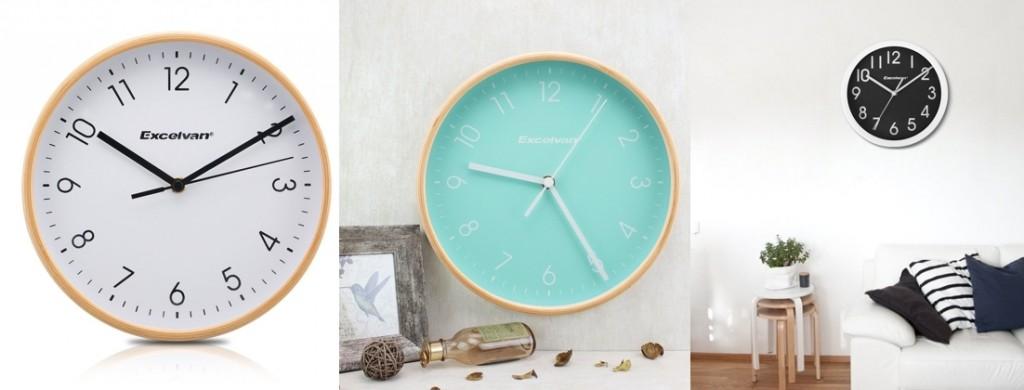 Reloj de pared Excelvan con marco de madera (varios colores)