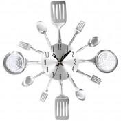 Reloj de pared silencioso diseño utensilios cocina