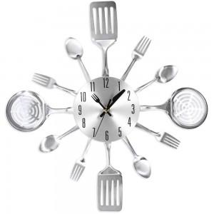 Reloj de pared dise o utensilios cocina color plateado - Reloj de pared para cocina ...