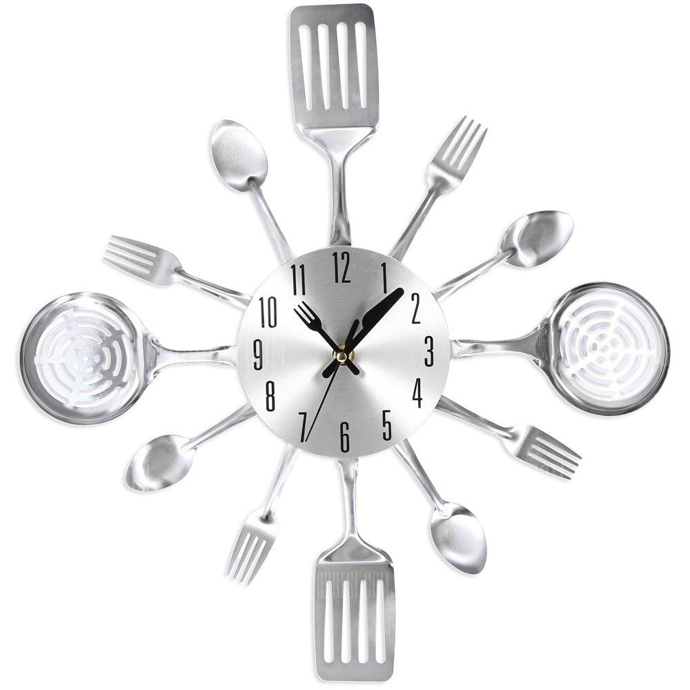 Reloj de pared dise o utensilios cocina color plateado - Reloj de pared de diseno ...