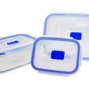 Set de 3 recipientes herméticos rectangulares de vídrio Luminarc Pure Box Active