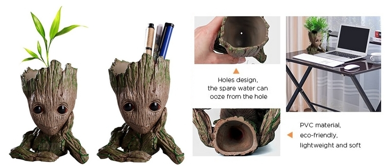 Maceta lapicero forma de Groot