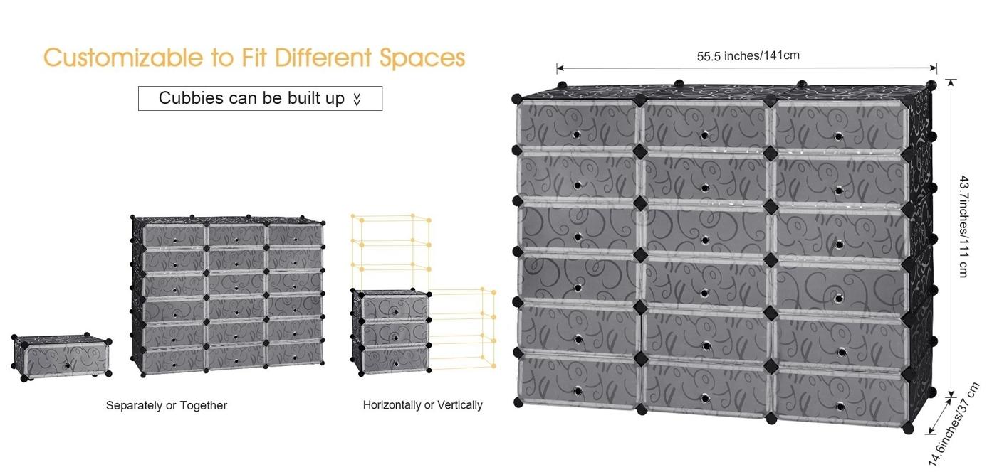 Zapatero modular DIY 18 cubos Langria medidas