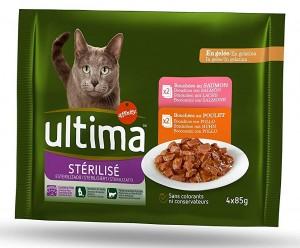 Pack con 10 paquetes de comida húmeda para gatos esterilizados