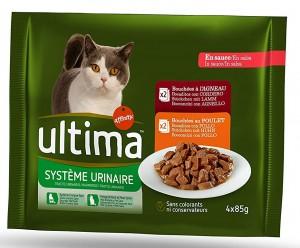 pack es de 10 paquetes de comida húmeda Ultima para gatos con problemas del tracto urinario