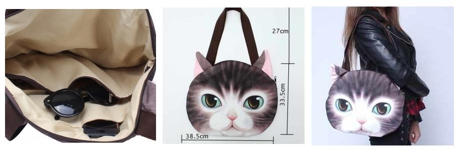 Bolso estampado con caras de gato