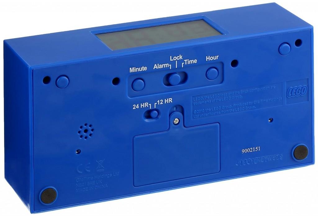 Despertador con forma de pieza de Lego azul