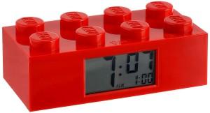Despertador con forma de pieza de Lego rojo