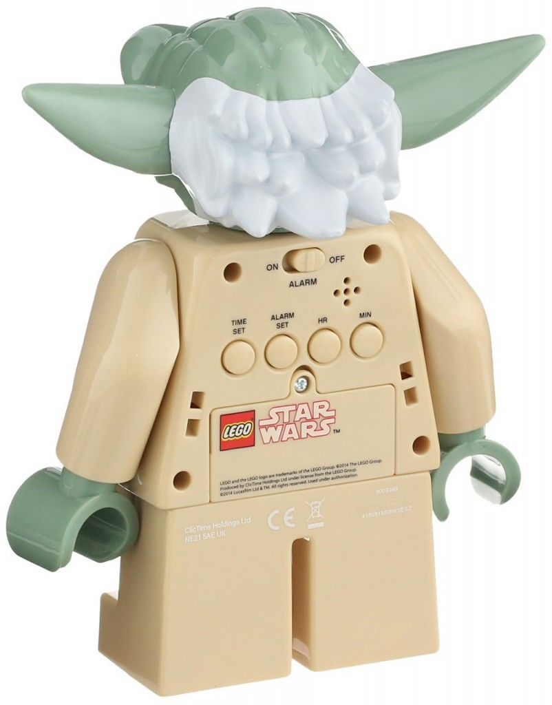 Reloj despertador con figura Yoda Lego Star Wars por detrás