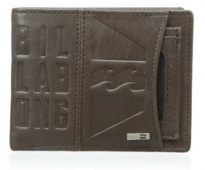 Cartera de piel Billabong Scope marrón