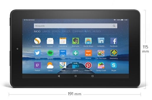 Nueva tablet Kindle Fire medidas