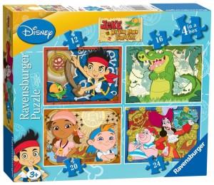 Caja con 4 puzzles Ravensburger Jake y los Piratas de Nunca Jamás