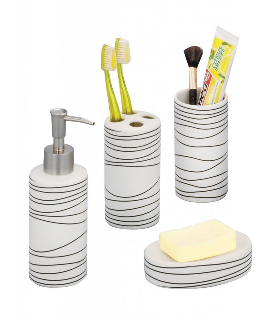 Juego de accesorios para baño de cerámica Zeller blanco