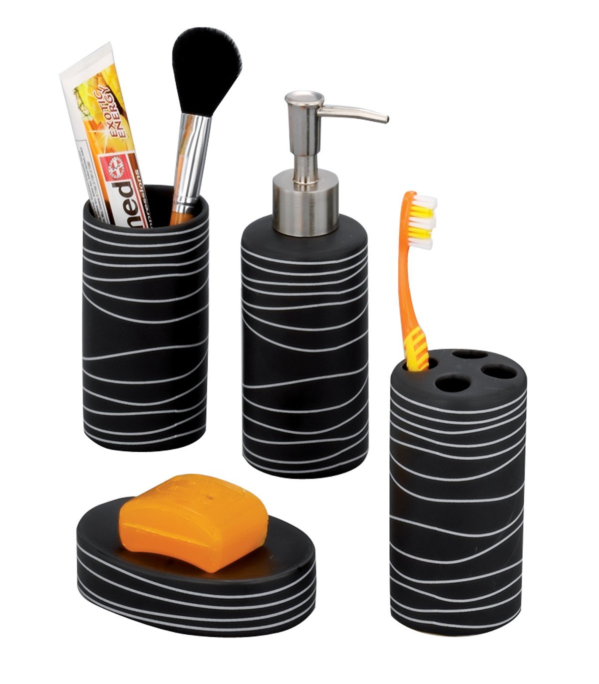 Juego de accesorios para baño de cerámica Zeller negro