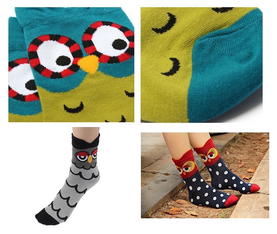 calcetines con estampado de búho