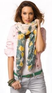 set foulard, cinturón y pulseras verde