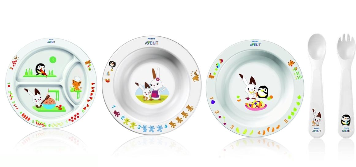 Philips Avent SCF716/00 plato con tres compartimentos, plato hondo grande, plato hondo pequeño, cuchara ytenedor