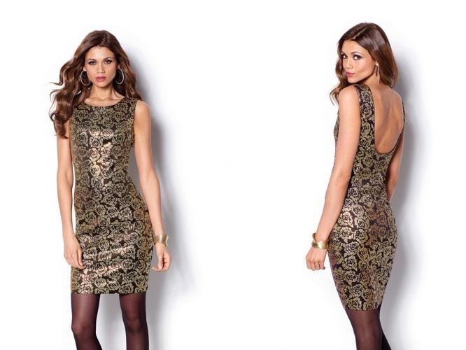 25a6ba701 Vestido de fiesta negro y oro