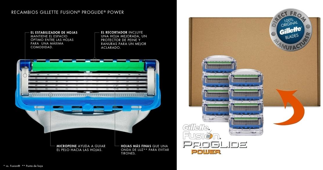 8 cuchillas de recambio para maquinill de afeitar Gillette Fusion ProGlide Power