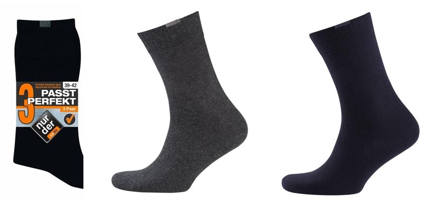 Pack de 3 pares de calcetines Nur Der negros, grises y azules