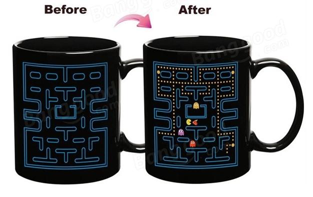 Taza térmica diseño Pacman el dibujo aparece al introducir un líquido caliente