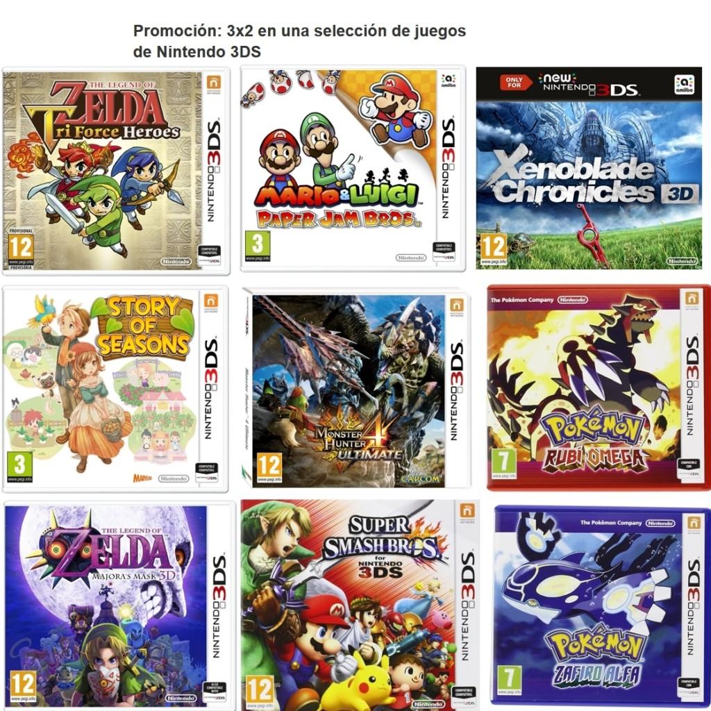 3 x 2 en selección de juegos para la consola Nintendo 3DS