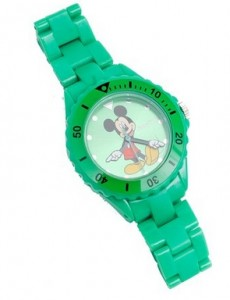 Reloj de pulsera infantil Mickey Mouse verde