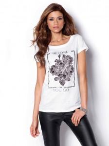camiseta de manga corta estampada con acabado metalizado en color blanco