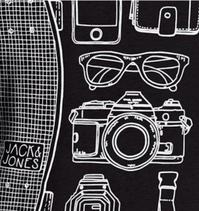 Camiseta para hombre Jack & Jones Jjoroutfit estampado frontal