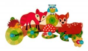 Perchero de pared Hess diseño animales del bosque