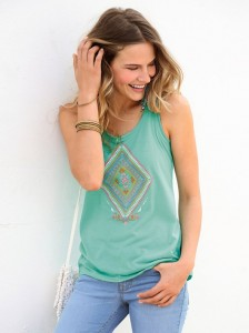 Camiseta sin mangas efecto punto de cruz verde turquesa