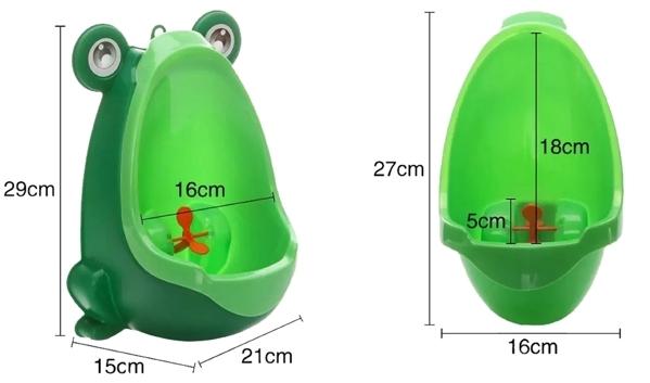 Medidas Orinal de pared para niños con forma de rana