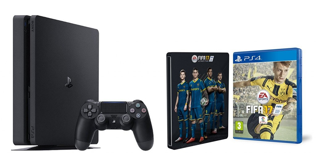 PS4 Slim 1 TB + FIFA 17 + Steelbook